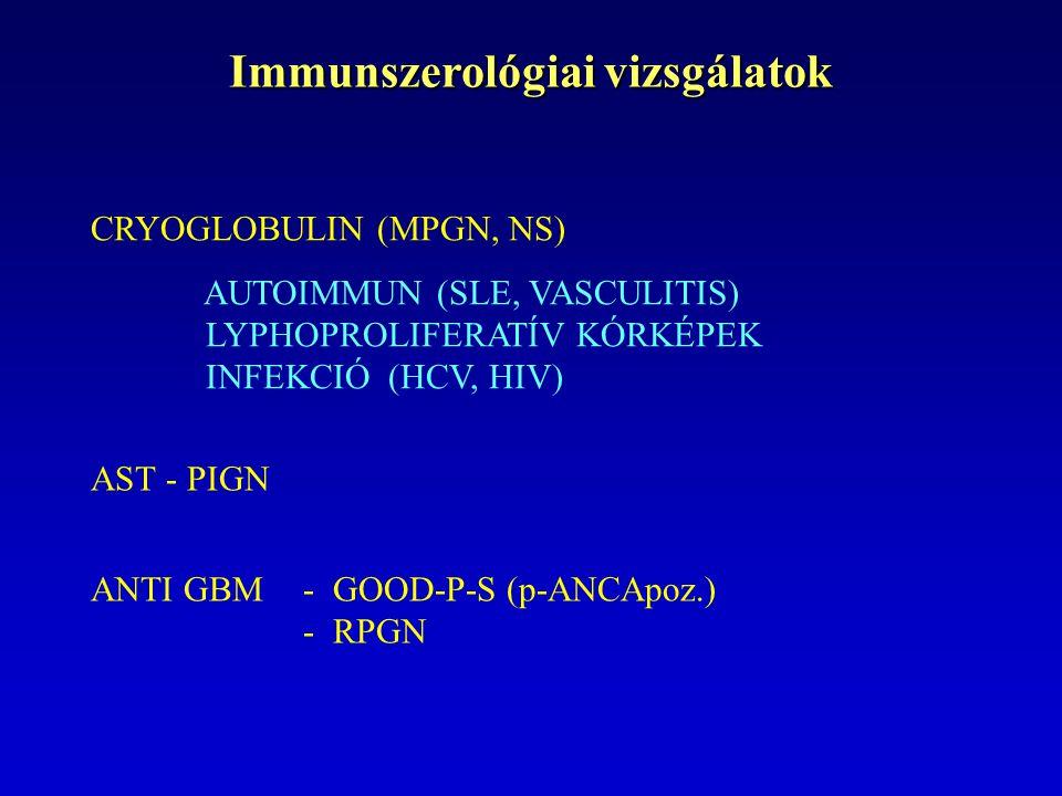 Immunszerológiai vizsgálatok CRYOGLOBULIN (MPGN, NS) AUTOIMMUN (SLE, VASCULITIS) LYPHOPROLIFERATÍV KÓRKÉPEK INFEKCIÓ (HCV, HIV) AST - PIGN ANTI GBM - GOOD-P-S (p-ANCApoz.) - RPGN