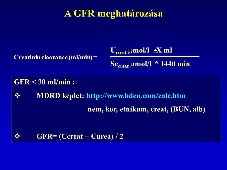 Creatinin clearance (ml/min) = U creat  mol/l X ml Se creat  mol/l * 1440 min * GFR < 30 ml/min :  MDRD képlet: http://www.hdcn.com/calc.htm nem, kor, etnikum, creat, (BUN, alb)  GFR= (Ccreat + Curea) / 2 A GFR meghatározása