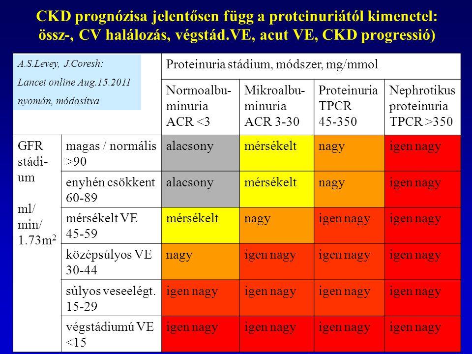 Proteinuria stádium, módszer, mg/mmol Normoalbu- minuria ACR <3 Mikroalbu- minuria ACR 3-30 Proteinuria TPCR 45-350 Nephrotikus proteinuria TPCR >350 GFR stádi- um ml/ min/ 1.73m 2 magas / normális >90 alacsonymérsékeltnagyigen nagy enyhén csökkent 60-89 alacsonymérsékeltnagyigen nagy mérsékelt VE 45-59 mérsékeltnagyigen nagy középsúlyos VE 30-44 nagyigen nagy súlyos veseelégt.