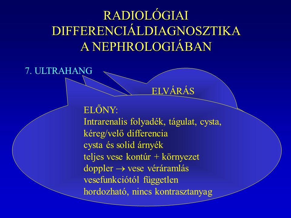 RADIOLÓGIAI DIFFERENCIÁLDIAGNOSZTIKA A NEPHROLOGIÁBAN 7. ULTRAHANG HÁTRÁNY: Finom medencerészlet nem látszik, normális uréter nem látszik retroperiton