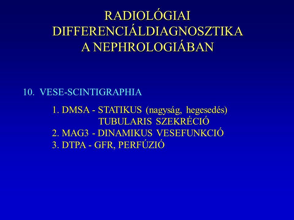 RADIOLÓGIAI DIFFERENCIÁLDIAGNOSZTIKA A NEPHROLOGIÁBAN 10. VESE-SCINTIGRAPHIA 1. DMSA - STATIKUS (nagyság, hegesedés) TUBULARIS SZEKRÉCIÓ 2. MAG3 - DIN