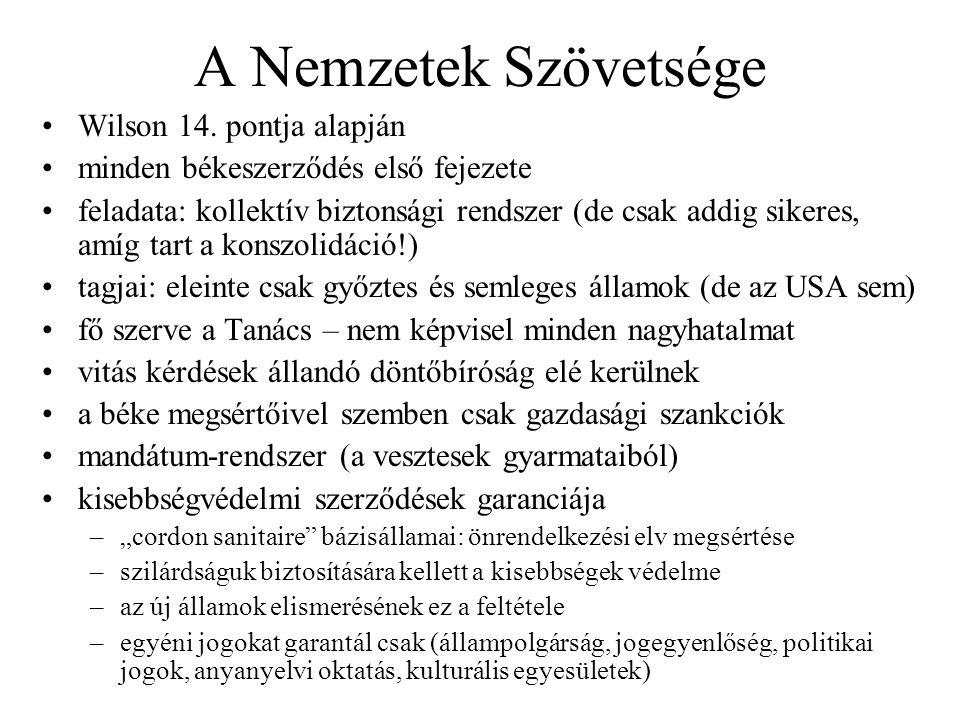 A Nemzetek Szövetsége Wilson 14. pontja alapján minden békeszerződés első fejezete feladata: kollektív biztonsági rendszer (de csak addig sikeres, amí