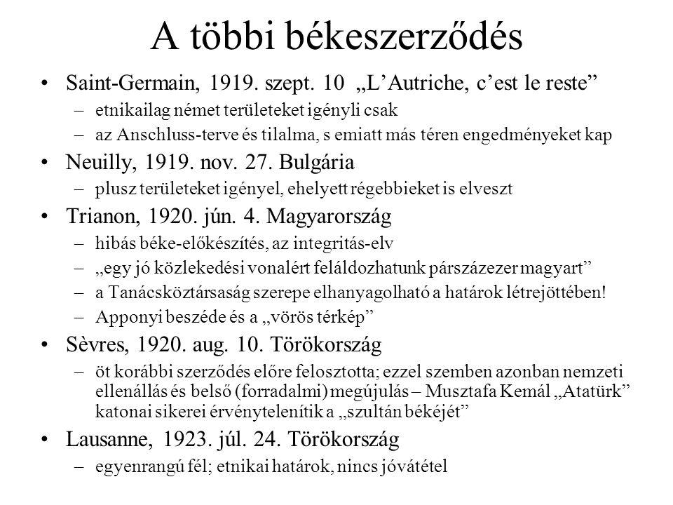 """A többi békeszerződés Saint-Germain, 1919. szept. 10 """"L'Autriche, c'est le reste"""" –etnikailag német területeket igényli csak –az Anschluss-terve és ti"""
