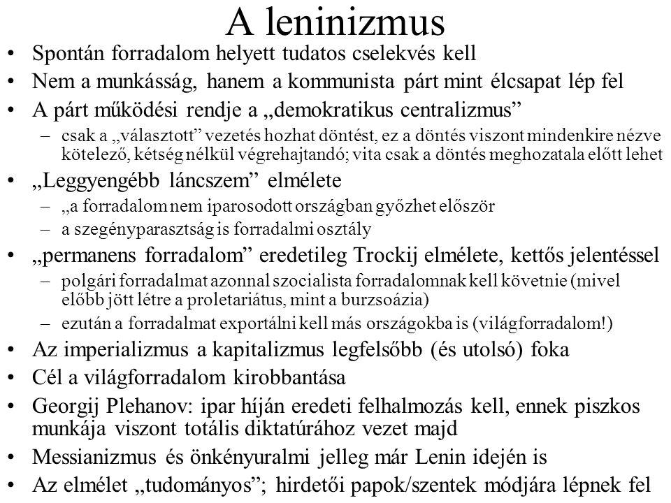 A leninizmus Spontán forradalom helyett tudatos cselekvés kell Nem a munkásság, hanem a kommunista párt mint élcsapat lép fel A párt működési rendje a