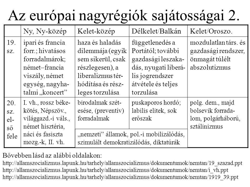 Az európai nagyrégiók sajátosságai 2. Ny, Ny-középKelet-középDélkelet/BalkánKelet/Oroszo. 19. sz. ipari és francia forr.; hivatásos forradalmárok; ném
