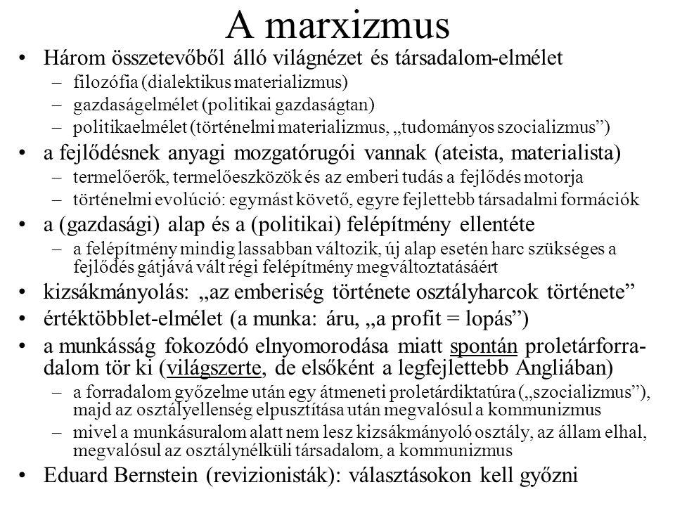 """A leninizmus Spontán forradalom helyett tudatos cselekvés kell Nem a munkásság, hanem a kommunista párt mint élcsapat lép fel A párt működési rendje a """"demokratikus centralizmus –csak a """"választott vezetés hozhat döntést, ez a döntés viszont mindenkire nézve kötelező, kétség nélkül végrehajtandó; vita csak a döntés meghozatala előtt lehet """"Leggyengébb láncszem (már Marx is foglalkozik vele élete végén!) –a forradalom nem iparosodott országban győzhet először –a szegényparasztság is forradalmi osztály """"Permanens forradalom : Lev Trockij elmélete, kettős jelentéssel –a proletariátus harcoljon a polgári forradalomért, amit szocialista forradalomnak kell követnie (mivel előbb jött létre proletariátus, mint burzsoázia) –ezután a forradalmat exportálni kell más országokba is (világforradalom!) Az imperializmus a kapitalizmus legfelsőbb (és utolsó) foka Georgij Plehanov: ipar híján eredeti felhalmozás kell, ennek piszkos munkája viszont totális diktatúrához vezet majd –ellenérv: a világforradalom és a nemzetközi proletárszolidaritás segíteni fog Messianizmus és önkényuralmi jelleg már Lenin idején is Az elmélet """"tudományos ; hirdetői papok/szentek módjára lépnek fel"""