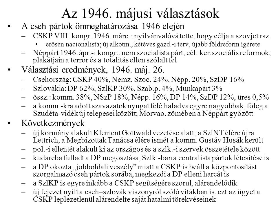A cseh–szlovák vita kiéleződése Harmadik prágai egyezmény, 1946.