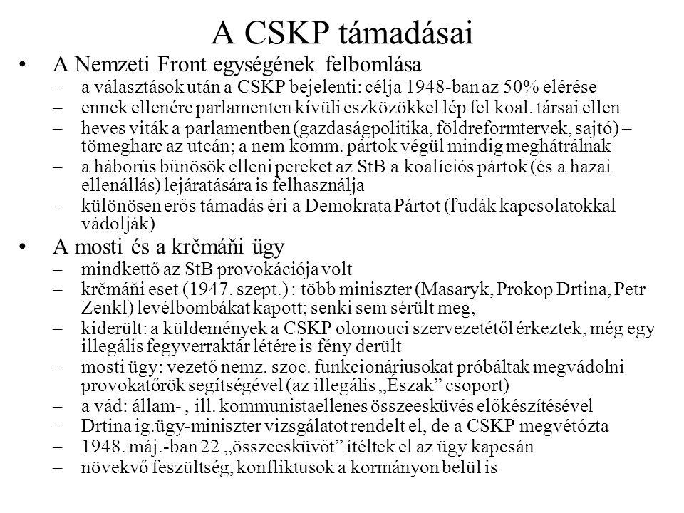 Az 1947 őszi válság Puccs Szlovákiában, 1947 nov.–1947 okt.