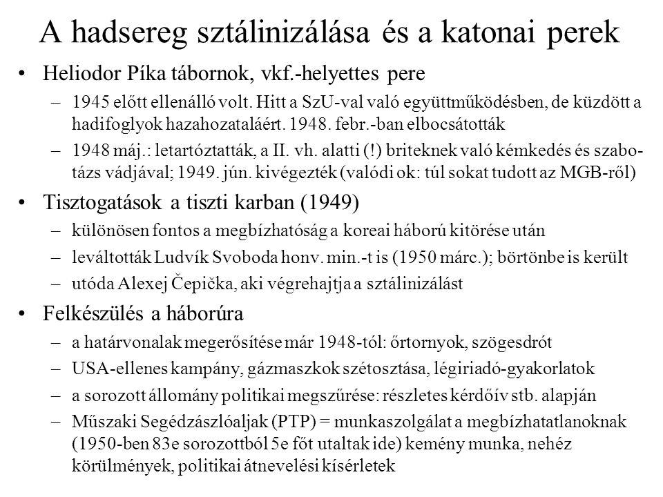 A hadsereg sztálinizálása és a katonai perek Heliodor Píka tábornok, vkf.-helyettes pere –1945 előtt ellenálló volt. Hitt a SzU-val való együttműködés