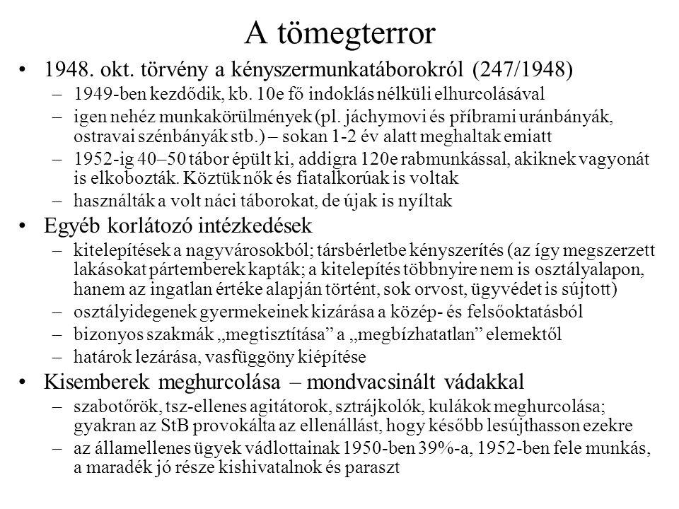 A tömegterror 1948. okt. törvény a kényszermunkatáborokról (247/1948) –1949-ben kezdődik, kb. 10e fő indoklás nélküli elhurcolásával –igen nehéz munka