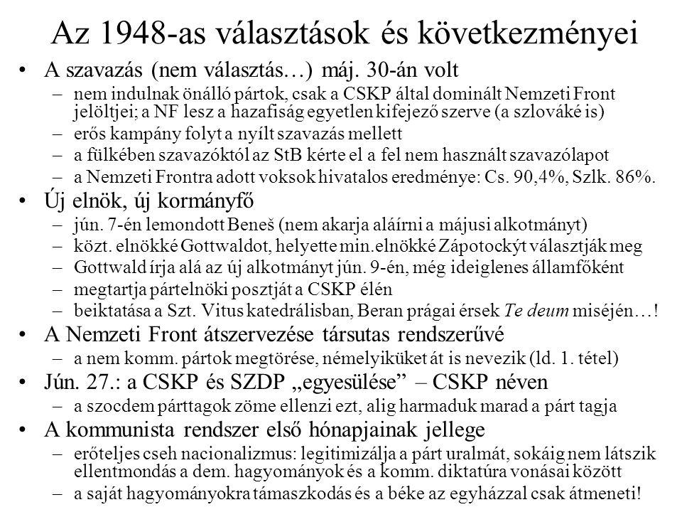 Az 1948-as választások és következményei A szavazás (nem választás…) máj. 30-án volt –nem indulnak önálló pártok, csak a CSKP által dominált Nemzeti F