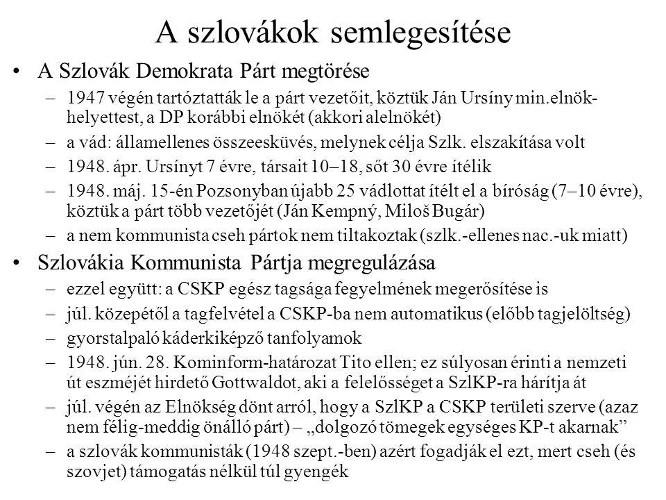 A szlovákok semlegesítése A Szlovák Demokrata Párt megtörése –1947 végén tartóztatták le a párt vezetőit, köztük Ján Ursíny min.elnök- helyettest, a DP korábbi elnökét (akkori alelnökét) –a vád: államellenes összeesküvés, melynek célja Szlk.