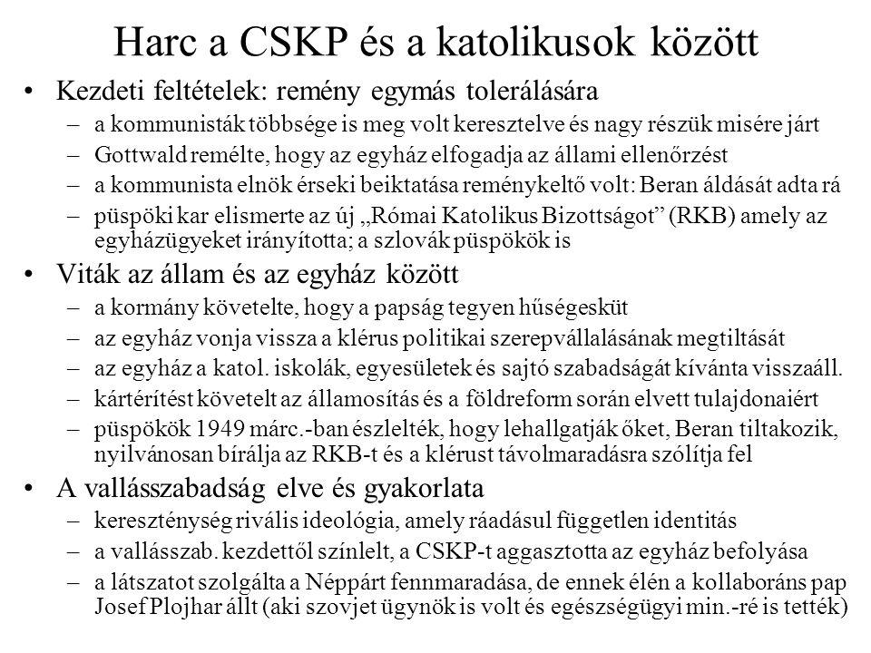 Harc a CSKP és a katolikusok között Kezdeti feltételek: remény egymás tolerálására –a kommunisták többsége is meg volt keresztelve és nagy részük misé
