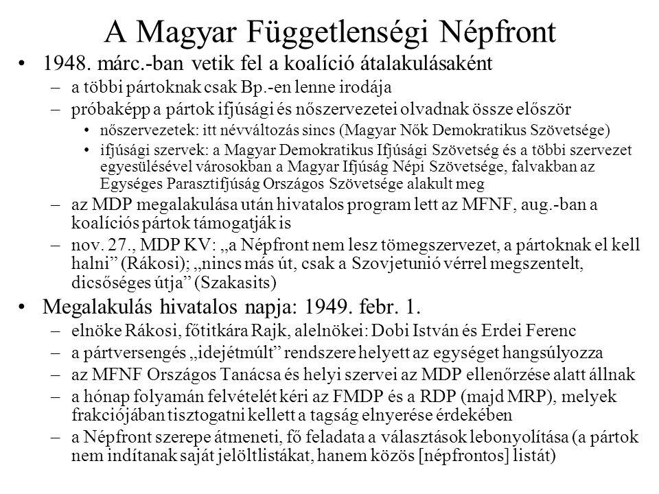 A Magyar Függetlenségi Népfront 1948. márc.-ban vetik fel a koalíció átalakulásaként –a többi pártoknak csak Bp.-en lenne irodája –próbaképp a pártok