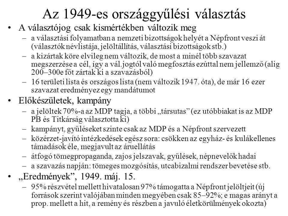 Az 1949-es országgyűlési választás A választójog csak kismértékben változik meg –a választási folyamatban a nemzeti bizottságok helyét a Népfront vesz