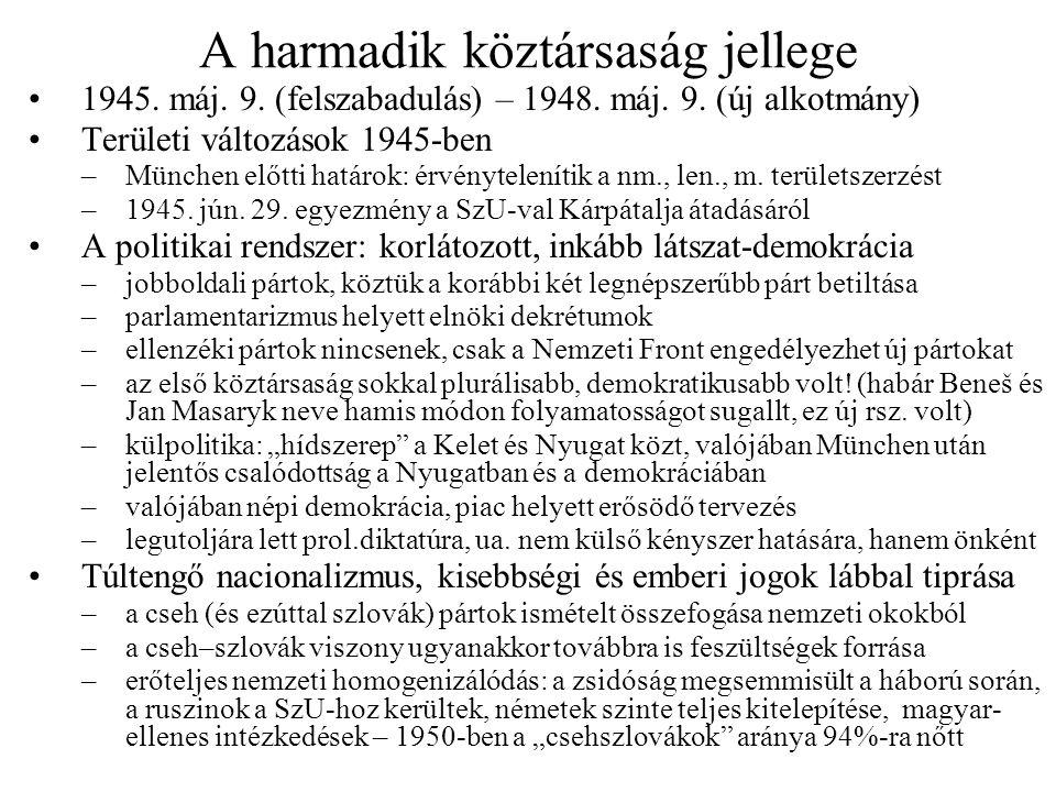 A harmadik köztársaság jellege 1945. máj. 9. (felszabadulás) – 1948. máj. 9. (új alkotmány) Területi változások 1945-ben –München előtti határok: érvé