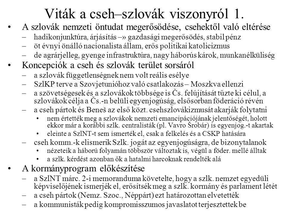 Viták a cseh–szlovák viszonyról 1. A szlovák nemzeti öntudat megerősödése, csehektől való eltérése –hadikonjunktúra, árjásítás –» gazdasági megerősödé