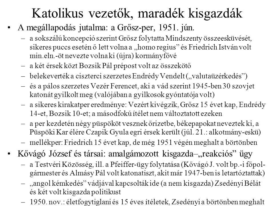 Katolikus vezetők, maradék kisgazdák A megállapodás jutalma: a Grősz-per, 1951. jún. –a sokszálú koncepció szerint Grősz folytatta Mindszenty összeesk