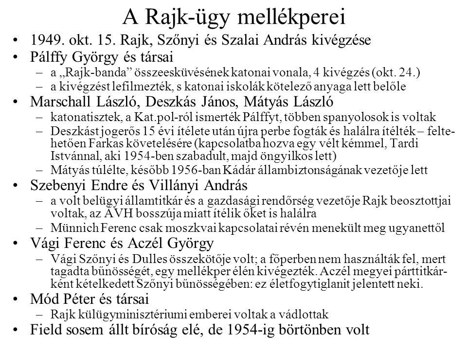 """A szociáldemokrata perek: áttekintés 1947–481950 körül1952–54 beolva- dók ellen nincs ilyen Justus Pál (a Rajk-perben) Gömöry Viktor–Dumbovich Emil– Bodrossy Erik (Sólyom perében) Vaikó György–Diettrich Lajos– Kászonyi András Szakasits-ügy (Marosán, Ries) (Schiffer Pál) nincs ilyen ellen- állókkal szemben Peyer Nitro- kémia Benjámin Olivér (rendőrtisztek) Virág Sándor (Miskolci üzemi) Piller Gyula (Budapesti üzemi) Kálmán József és a """"hatos bizottság Száva István és a centrum Laborcz István Fejszés Gyula Némedi Varga Jakab Mauks Miklós Vass Vilmos Kisházi Ödön (Kéthly Anna)"""