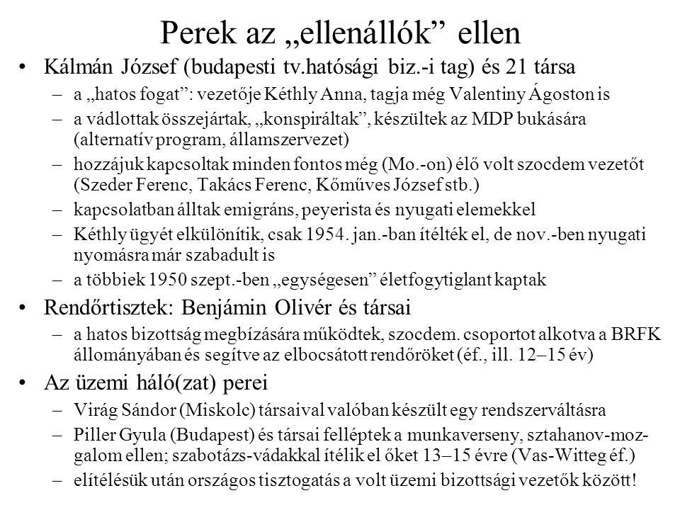 """Perek az """"ellenállók"""" ellen Kálmán József (budapesti tv.hatósági biz.-i tag) és 21 társa –a """"hatos fogat"""": vezetője Kéthly Anna, tagja még Valentiny Á"""