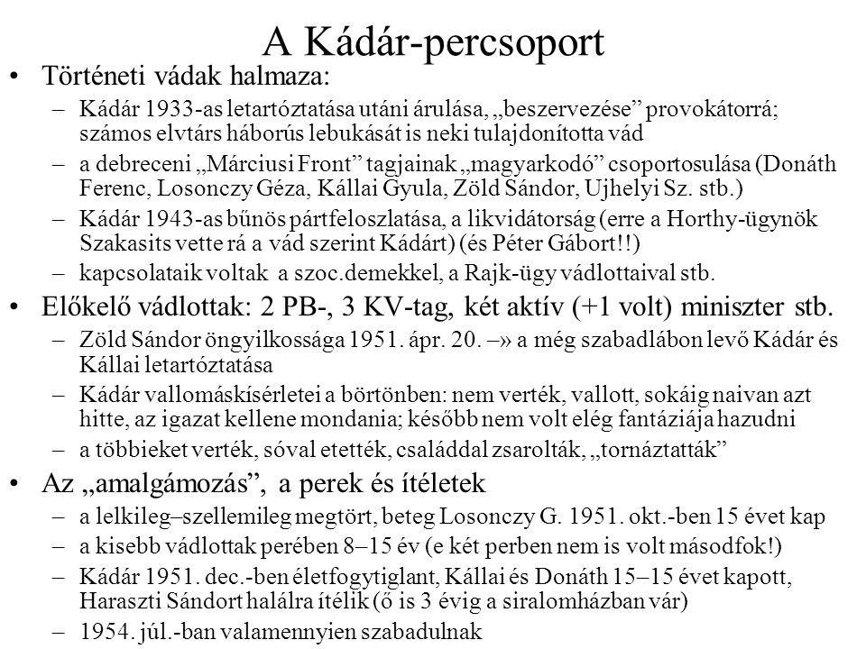 """A Kádár-percsoport Történeti vádak halmaza: –Kádár 1933-as letartóztatása utáni árulása, """"beszervezése"""" provokátorrá; számos elvtárs háborús lebukását"""