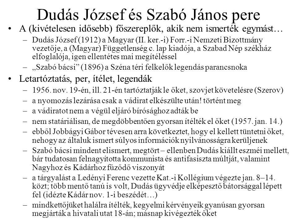 Dudás József és Szabó János pere A (kivételesen idősebb) főszereplők, akik nem ismerték egymást… –Dudás József (1912) a Magyar (II.