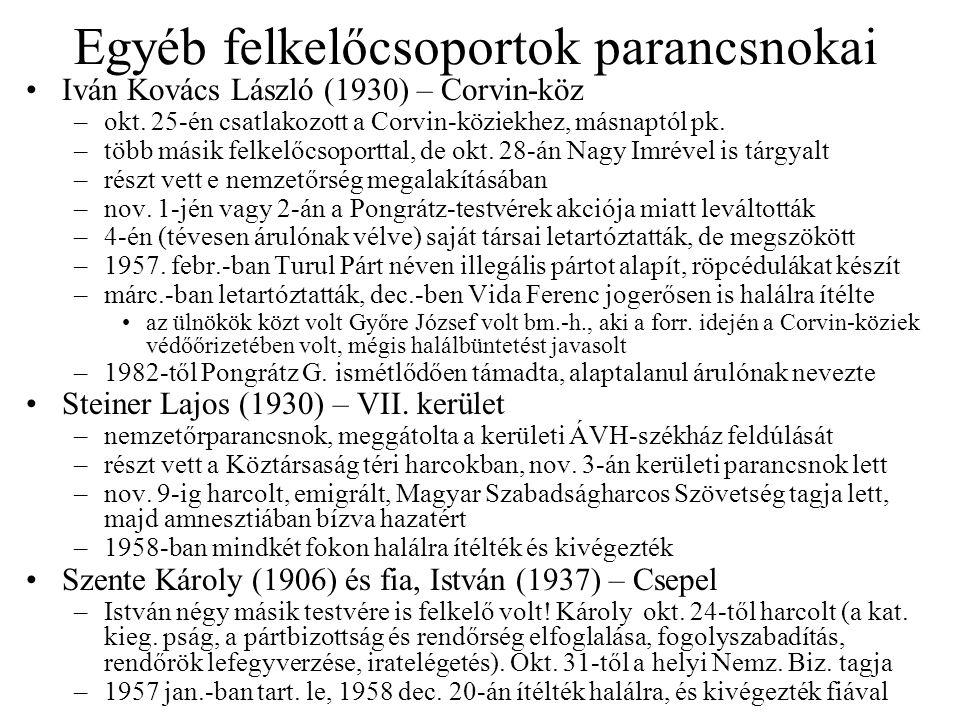 Egyéb felkelőcsoportok parancsnokai Iván Kovács László (1930) – Corvin-köz –okt. 25-én csatlakozott a Corvin-köziekhez, másnaptól pk. –több másik felk