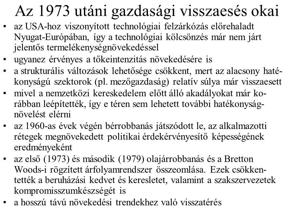 Az 1973 utáni gazdasági visszaesés okai az USA-hoz viszonyított technológiai felzárkózás előrehaladt Nyugat-Európában, így a technológiai kölcsönzés m