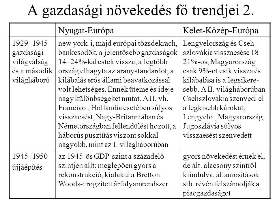 A gazdasági növekedés fő trendjei 2. Nyugat-EurópaKelet-Közép-Európa 1929–1945 gazdasági világválság és a második világháború new york-i, majd európai