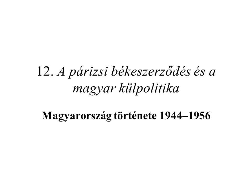 """A magyar kisebbség a szomszéd államokban Szovjetunió: """"a magyar kérdés elsősorban vagonkérdés –sok tízezer magyart hurcoltak el """"málenkij robot -ra, a Gulágra Csehszlovákia: etnikai tisztogatás és a """"hontalanság évei –teljes jogfosztás: a Beneš-dekrétumok megfosztják őket állampolgárságuktól, vagyonuktól, emberi jogaiktól, céljuk a magyarok teljes kitelepítése –ennek sikertelensége miatt belső áttelepítések és """"reszlovakizáció bővebben ld."""