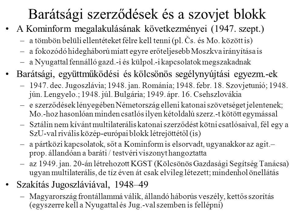 """Magyar–szovjet viszony Magyarország kormányzása –többszörös szovjet kontroll: SZKP közvetlen beavatkozása, az MDP PB teljes lojalitása, a szovjet """"tanácsadók és a hadsereg itt állomásozása révén is –a szovjet ellenőrzés nem tökéletes, a magyar vezetés pedig túlbuzgó, hibázik Tito ellen Mo."""