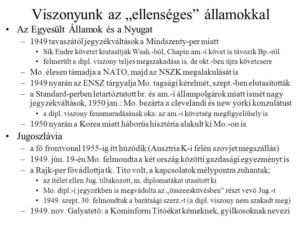"""Mozgástér és erősödő szovjet beavatkozás Külpolitikai helyzetünk Sztálin halála után –a SzU magyar belpolitikába való beavatkozása is fokozódik (1953, 1954–55 és 1956 folyamán is szovjet nyomásra történtek személycserék!) –az """"új szakasz külpol.-i téren semmilyen eredményt nem tudott felmutatni Az enyhülés következményei Magyarországon –1955."""
