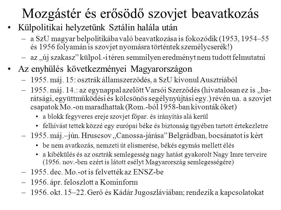 Mozgástér és erősödő szovjet beavatkozás Külpolitikai helyzetünk Sztálin halála után –a SzU magyar belpolitikába való beavatkozása is fokozódik (1953,