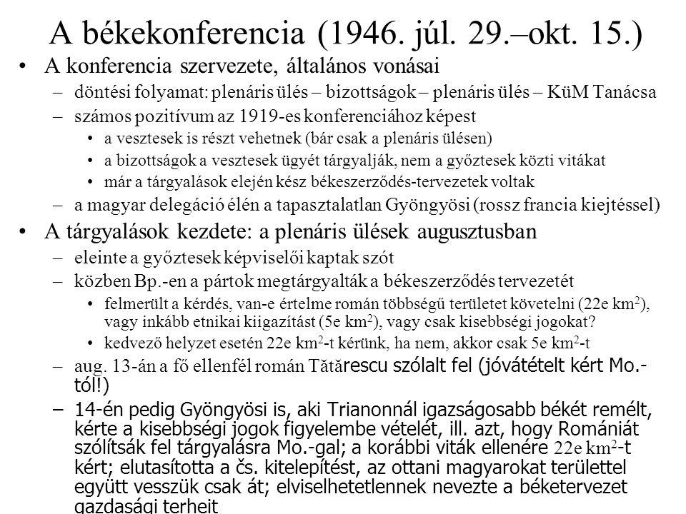 Bizottsági viták Területi kérdések: Magyar Pol.