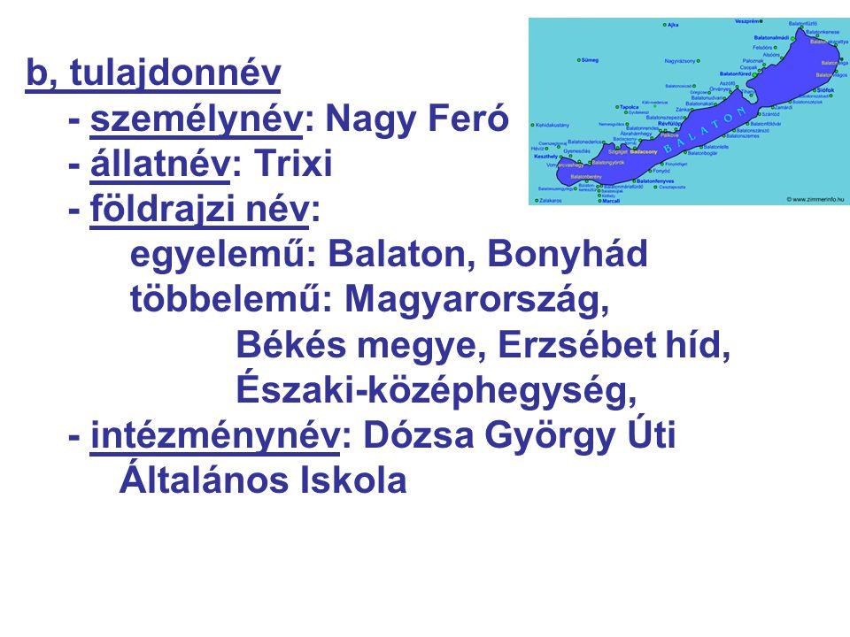 b, tulajdonnév - személynév: Nagy Feró - állatnév: Trixi - földrajzi név: egyelemű: Balaton, Bonyhád többelemű: Magyarország, Békés megye, Erzsébet hí