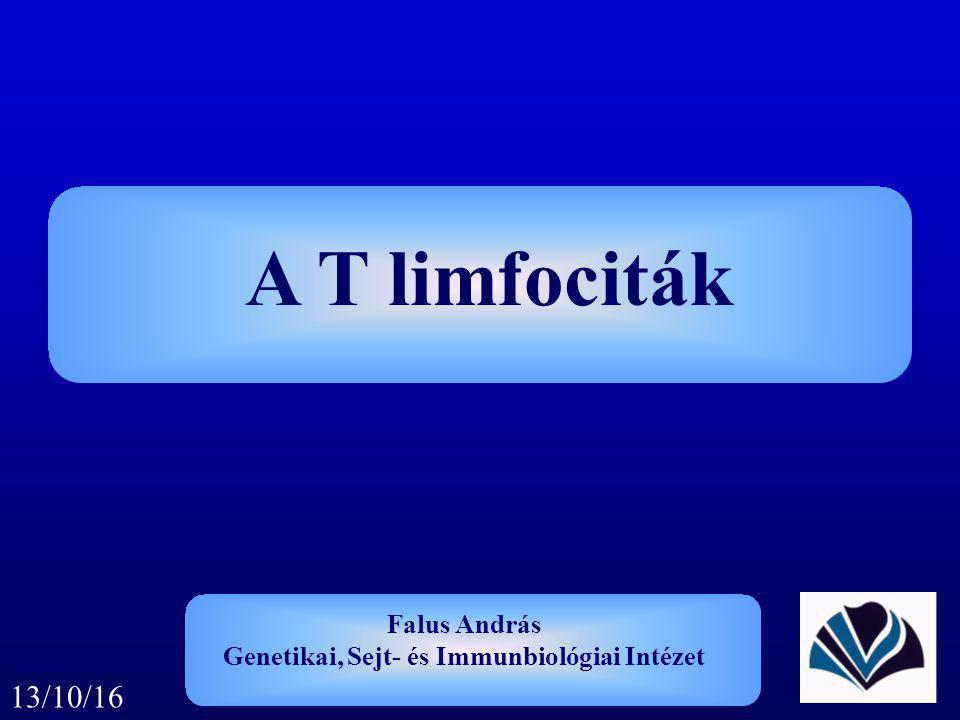 A T limfociták Falus András Genetikai, Sejt- és Immunbiológiai Intézet 13/10/16