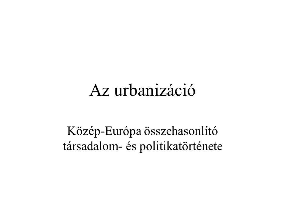 Alapfogalmak urbanizáció: a városodás, illetve városiasodás fogalma együttesen városodás: a városok népességének számszerű gyarapodását és a lakosság térbeli koncentrációja (mennyiségi elem) városiasodás: a városokra jellemző szolgáltatások, infrastuktúra stb.