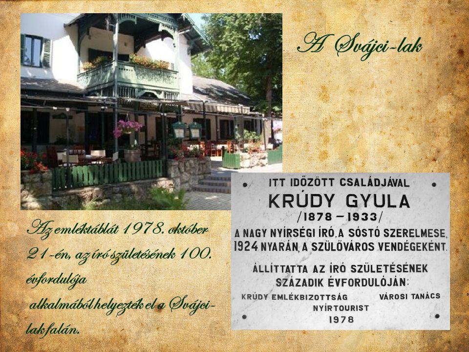 Az emléktáblát 1978. október 21-én, az író születésének 100. évfordulója alkalmából helyezték el a Svájci- lak falán. A Svájci-lak