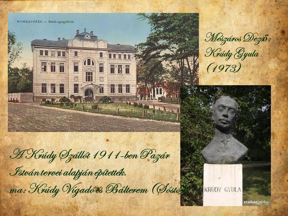 A Krúdy Szállót 1911-ben Pazár István tervei alapján építették. ma: Krúdy Vígadó és Bálterem (Sóstó) Mészáros Dezs ő : Krúdy Gyula (1973)