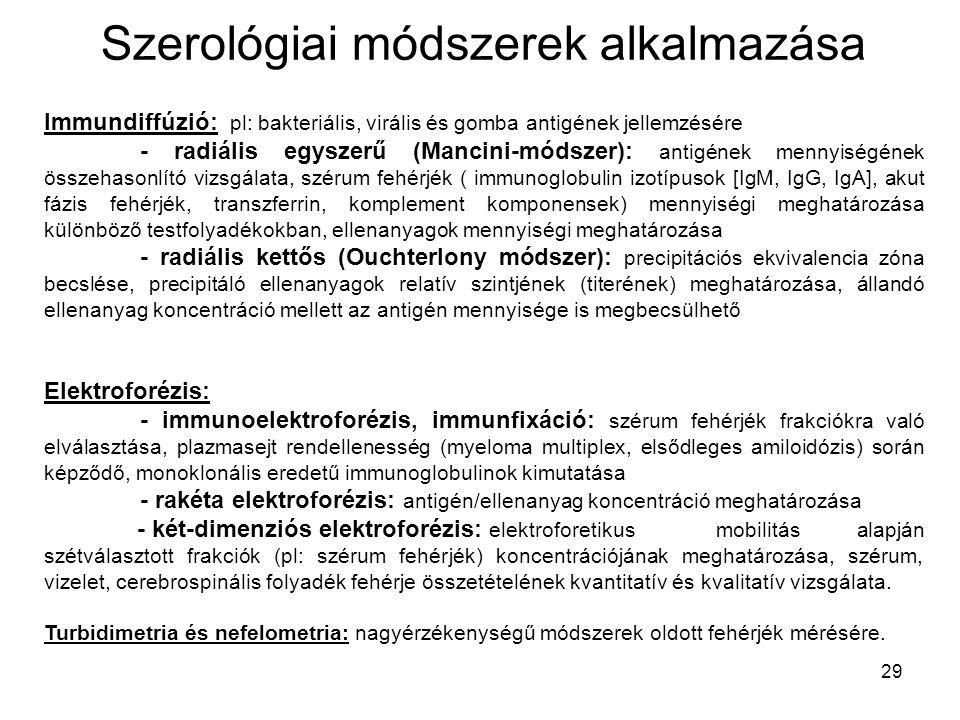 29 Szerológiai módszerek alkalmazása Immundiffúzió: pl: bakteriális, virális és gomba antigének jellemzésére - radiális egyszerű (Mancini-módszer): an