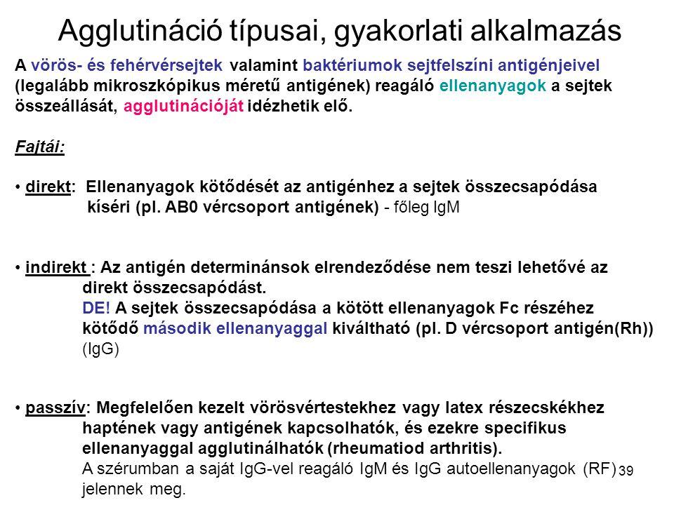 39 Agglutináció típusai, gyakorlati alkalmazás A vörös- és fehérvérsejtek valamint baktériumok sejtfelszíni antigénjeivel (legalább mikroszkópikus mér