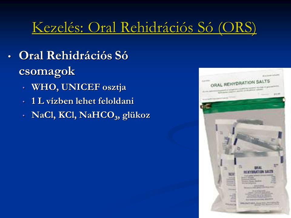 Kezelés: Oral Rehidrációs Só (ORS) Oral Rehidrációs Só csomagok Oral Rehidrációs Só csomagok WHO, UNICEF osztja WHO, UNICEF osztja 1 L vízben lehet fe
