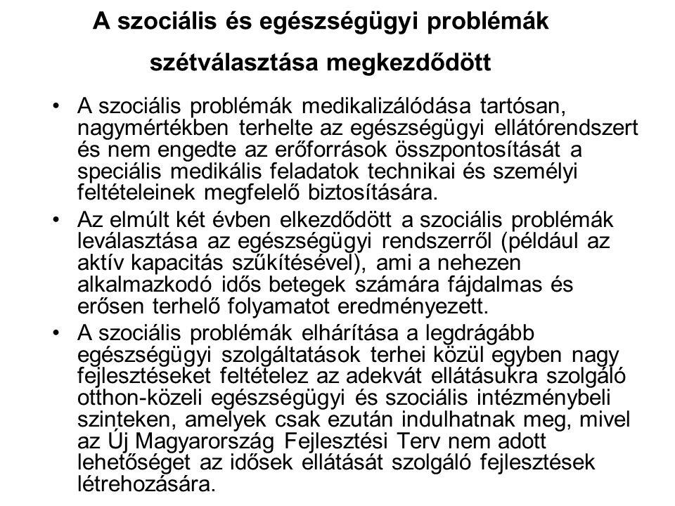 A szociális és egészségügyi problémák szétválasztása megkezdődött A szociális problémák medikalizálódása tartósan, nagymértékben terhelte az egészségü
