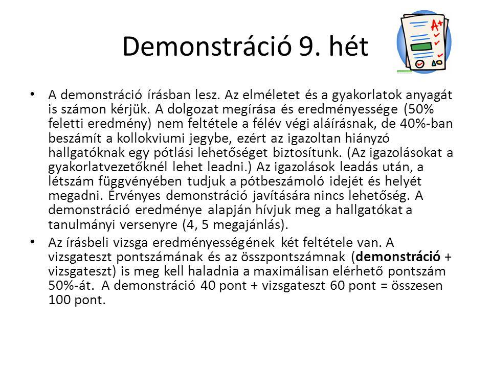 Demonstráció 9. hét A demonstráció írásban lesz. Az elméletet és a gyakorlatok anyagát is számon kérjük. A dolgozat megírása és eredményessége (50% fe