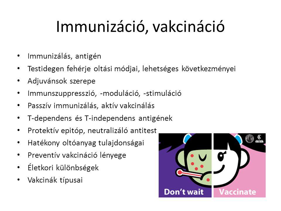 Immunizáció, vakcináció Immunizálás, antigén Testidegen fehérje oltási módjai, lehetséges következményei Adjuvánsok szerepe Immunszuppresszió, -modulá