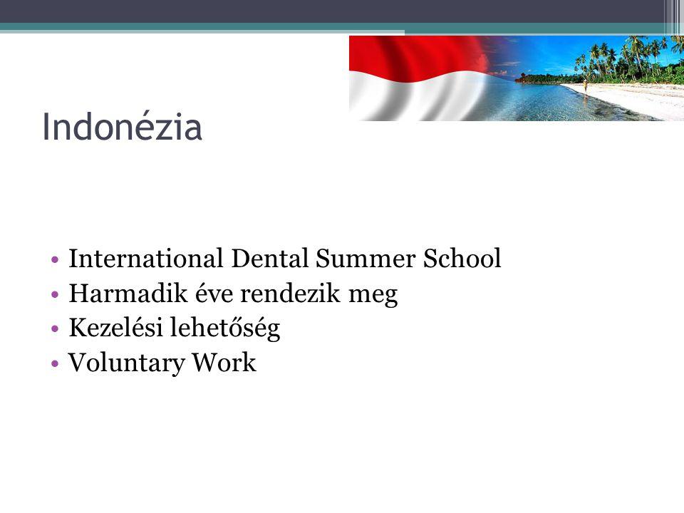 Indonézia International Dental Summer School Harmadik éve rendezik meg Kezelési lehetőség Voluntary Work
