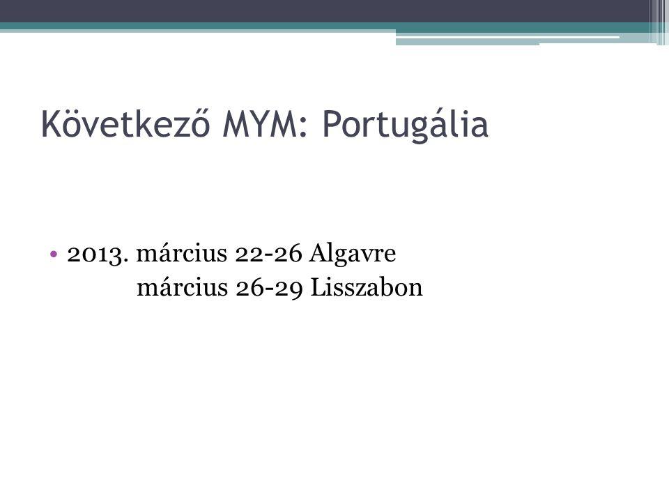 Következő MYM: Portugália 2013. március 22-26 Algavre március 26-29 Lisszabon