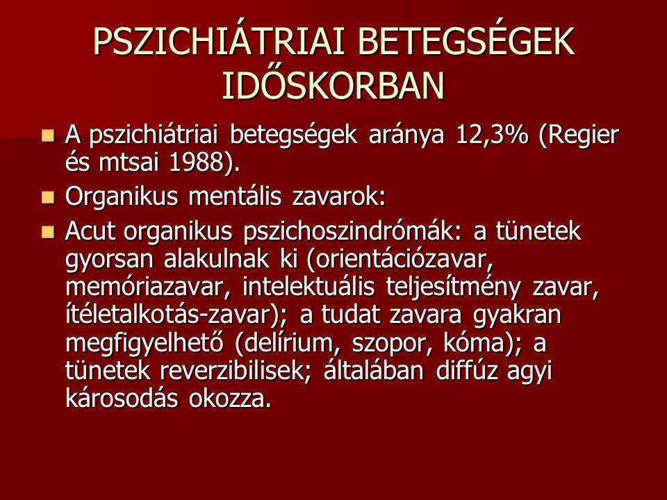 PSZICHIÁTRIAI BETEGSÉGEK IDŐSKORBAN A pszichiátriai betegségek aránya 12,3% (Regier és mtsai 1988). A pszichiátriai betegségek aránya 12,3% (Regier és