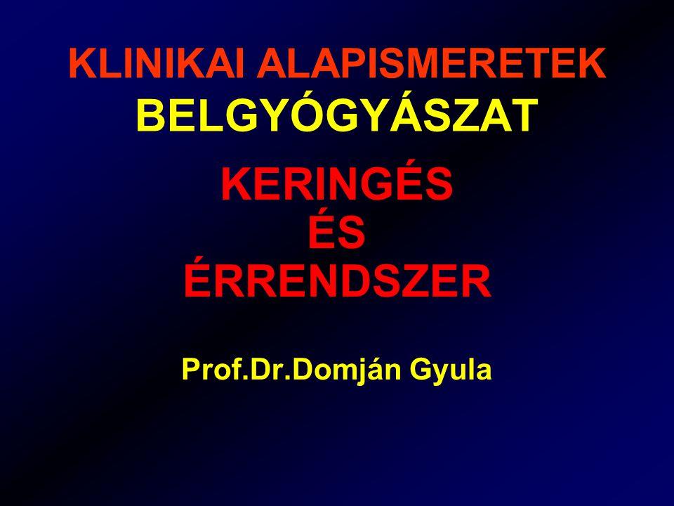 KLINIKAI ALAPISMERETEK BELGYÓGYÁSZAT KERINGÉS ÉS ÉRRENDSZER Prof.Dr.Domján Gyula