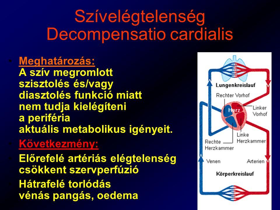 Szívelégtelenség Decompensatio cardialis Meghatározás: A szív megromlott szisztolés és/vagy diasztolés funkció miatt nem tudja kielégíteni a periféria aktuális metabolikus igényeit.